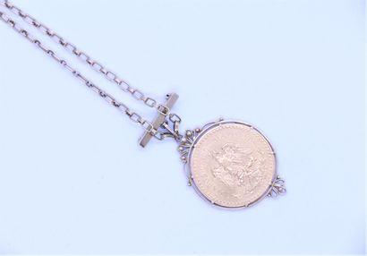 50 pesos or 1821-1945, montée en pendentif....