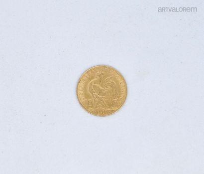10 francs or au coq, année 1910  Poids: 3,2...
