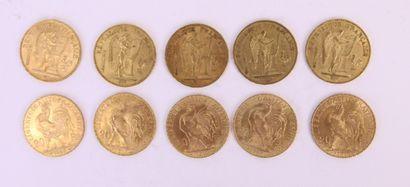 Dix 20 francs or au Génie et au coq, années...