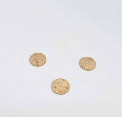 Trois 20 francs or au génie, année 1897  Poids...