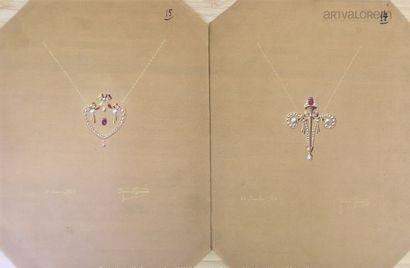Maurice FOURAIN (XIX°-XX°Siècle)  Deux dessins...