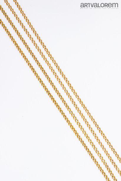 Grande chaîne de montre en or jaune 750°/°°...