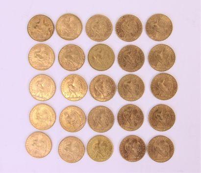 vingt-cinq 20 francs or au coq, années 1909,...