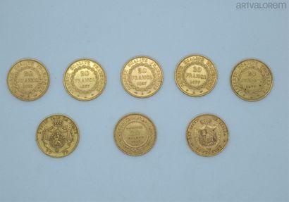Cinq 20 francs or 1877, 1893 et 1895  20...