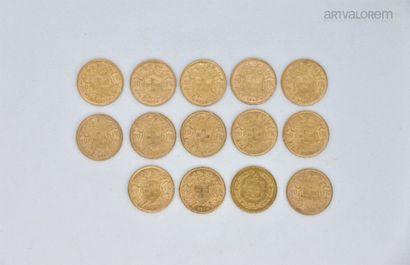 Quatorze 20 francs Suisse, années 1914, 1935,...