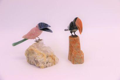 Deux toucans l'un en quartz rose et bec...
