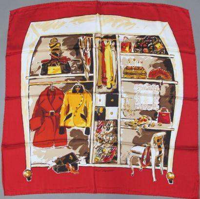 Lot sept de foulards, carrés en soie, coton,...
