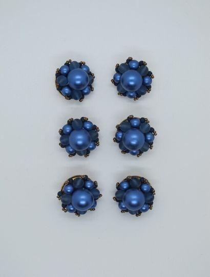 Lot de 6 boutons composés de boules bleues...