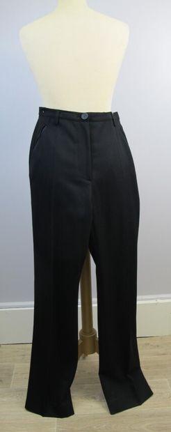 CARVEN  Pantalon de smoking noire en lainage,...