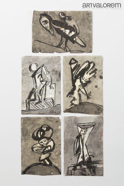 SILVA Julio (1930-2020)  Cinq dessins sur...
