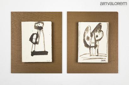SILVA Julio (1930-2020)  Deux dessins à l'encre...