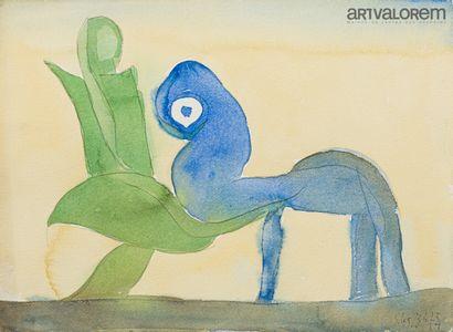 SILVA Julio (1930-2020)  Scène fantastique,...