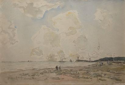 FRANK-BOGGS (1855-1926)  Bord de mer à Deauville,...