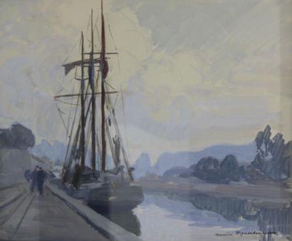 Maurice MENARDEAU (1897-1977)  Bateau à quai...
