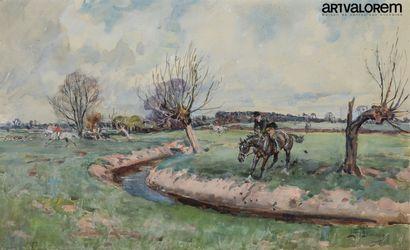 L. EDWARDS (1878-1966)  Refus d'obstacle...