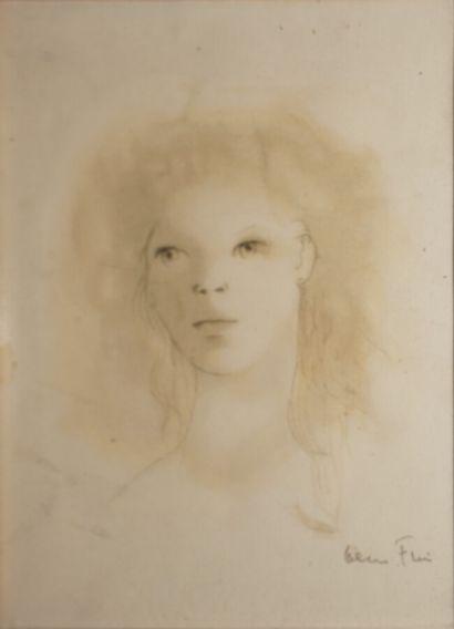 Léonor FINI (1907-1996)  Tête de femme,  Encre...