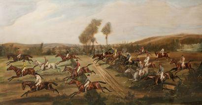 Jonny AUDY (1844-1882)  Course de chevaux,...