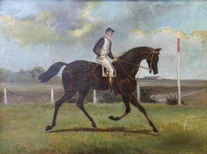 Ecole anglaise du XXème siècle  Jockey à...