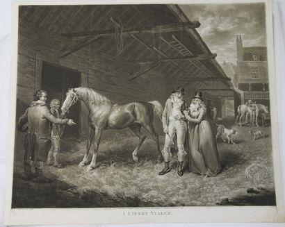 J.WARD (1759-1859)  - A livery stable  Aquatinte...