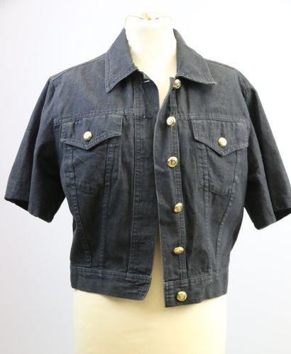 MOSCHINO  Veste en jean noir à manches courtes,...