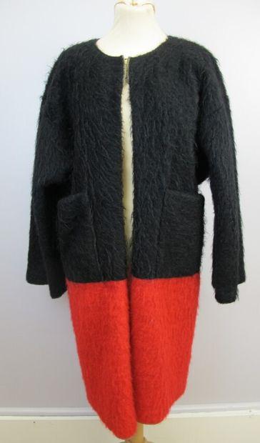 MICHEL LEGER  Manteau bouillie en laine bicolore...