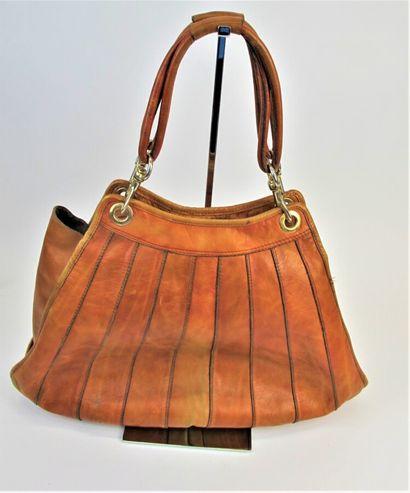 Sac vintage en cuir naturel à motifs de bandes,...