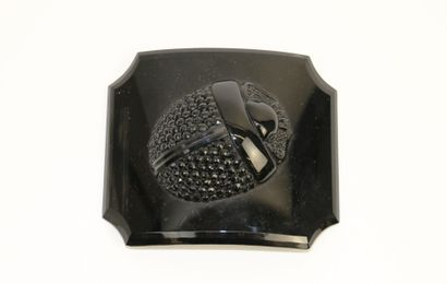 Boucle de ceinture en métal laqué noir orné...