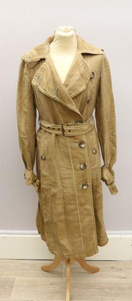 SPORT MAX  Trench coat en lin marron-beige,...