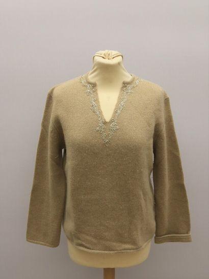 APOSTROPHE  Pull en laine et cachemire beige,...