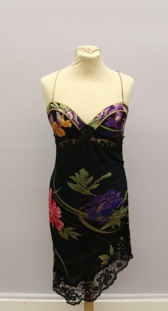 LEONARD  Robe en soie noire imprimée de motifs...