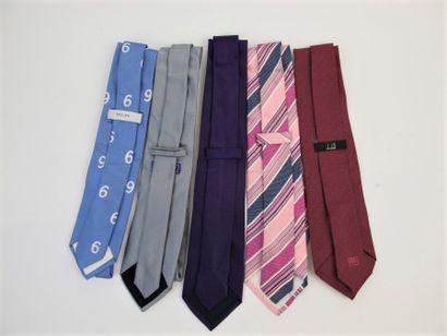 BREUER - CROSSWORD - BOUVY - DUNHILL  Six cravates en soie uni, bayadère ou fan...