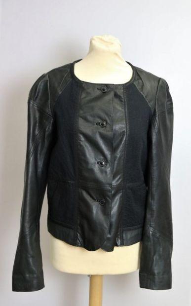 VANESSA BRUNO  Blouson en cuir noir et coton...