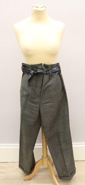PAULE KA  Pantalon à pince droit gris foncé,...