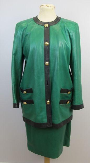 NICOLE LANG  Tailleur jupe et veste en cuir...