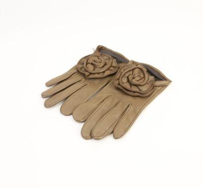 AVRIL  Paire de gants en cuir taupe orné...