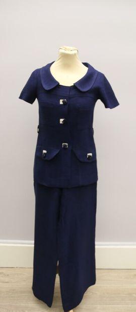 SONIA RYKIEL  Tailleur pantalon en lin bleu...