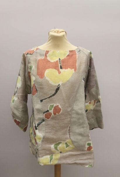 MARNI  Haut en ramie imprimé de fleurs, poches...