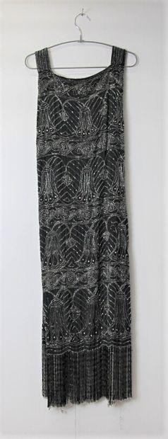 Robe du soir noir avec brodé de perles crée...