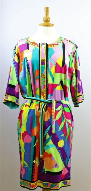 LEONARD  Robe en coton à motif géométrique...