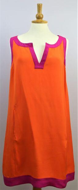 GEORGES RECH  Robe sans manches orange et...