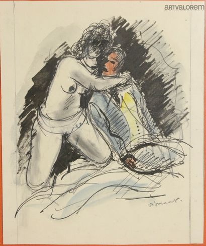André DIGNIMONT (1891-1965)  Scène érotique,...
