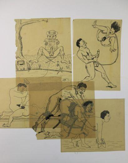 Cinq dessins à l'encre sur calque: le bilboquet,...