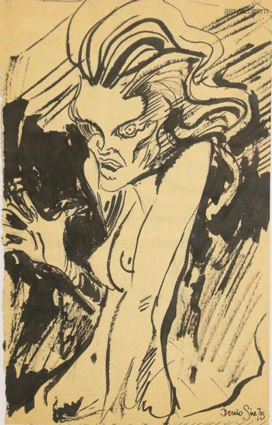 Denis SIRE XXème siècle  Femme nue effrayée,...