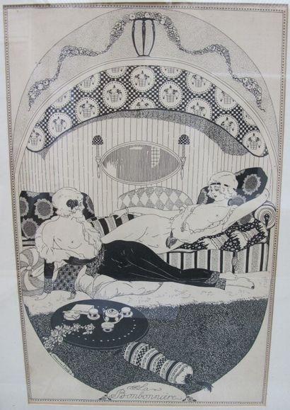 Maurice BERTY (1884-1946)  Scène de salon...