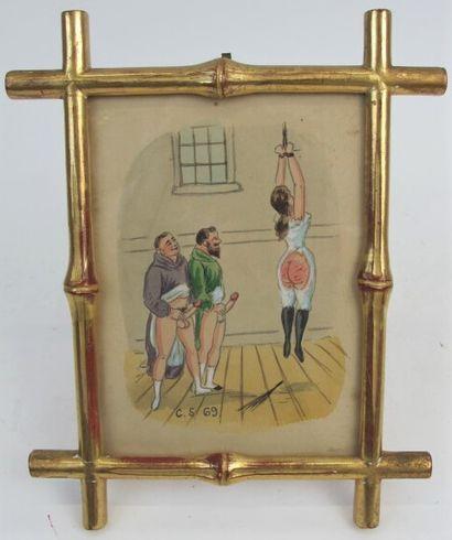 Moine et prêtre en érection après flagellation,...