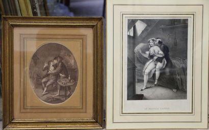 Deux gravures érotiques sous verre dont