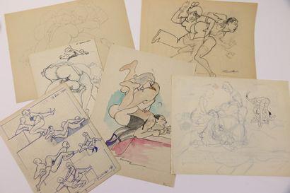 François D'ALBIGNAC (1903-1958)  Six dessins...