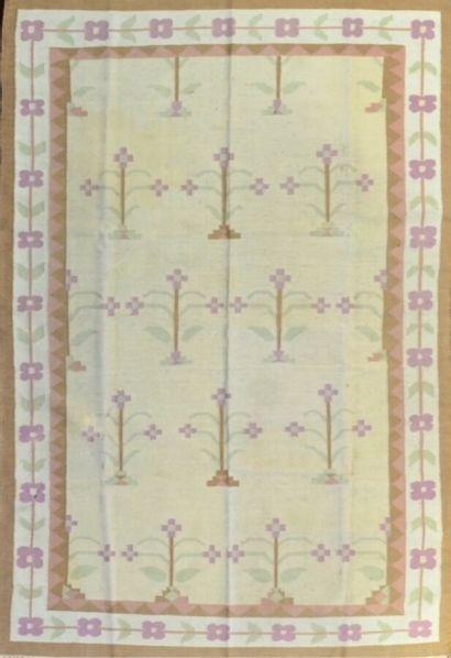 Grand et original Kilim Dhurris (Inde) vers...