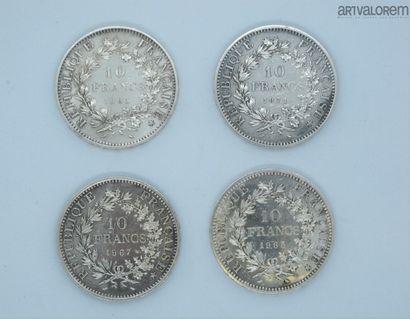 France, 4 pièces de 10 francs en argent,...