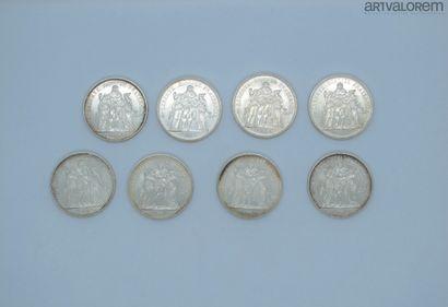 Huit pièces de 50 Francs argent  Poids: 201...
